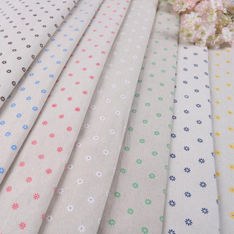 XINLEI Vải Cotton pha [nhà máy trực tiếp] DIY handmade nhỏ daisy in cotton linen pha trộn vải sofa r