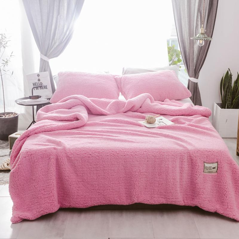 Bộ Drap giường chất liệu vải dày hai lớp chăn cừu , màu hồng