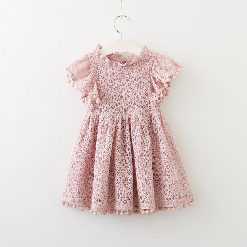 Váy Trang phục trẻ em Phụ nữ Váy mùa xuân và mùa thu Openwork Ren bóng bay Tay áo Cô gái Trẻ trung v
