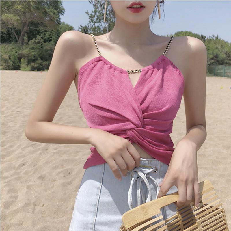 Dây treo trang phục Phần ngắn của chuỗi rốn xoắn áo vest không tay áo cửa hàng trực tuyến để tham gi