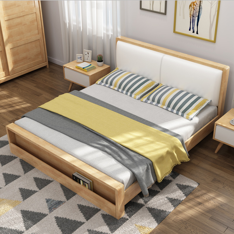 MEIXUAN Nội thất Giường đôi Bằng Gỗ , phong cách hiện đại tối giản ( 1,5m - 1,8 m giường )