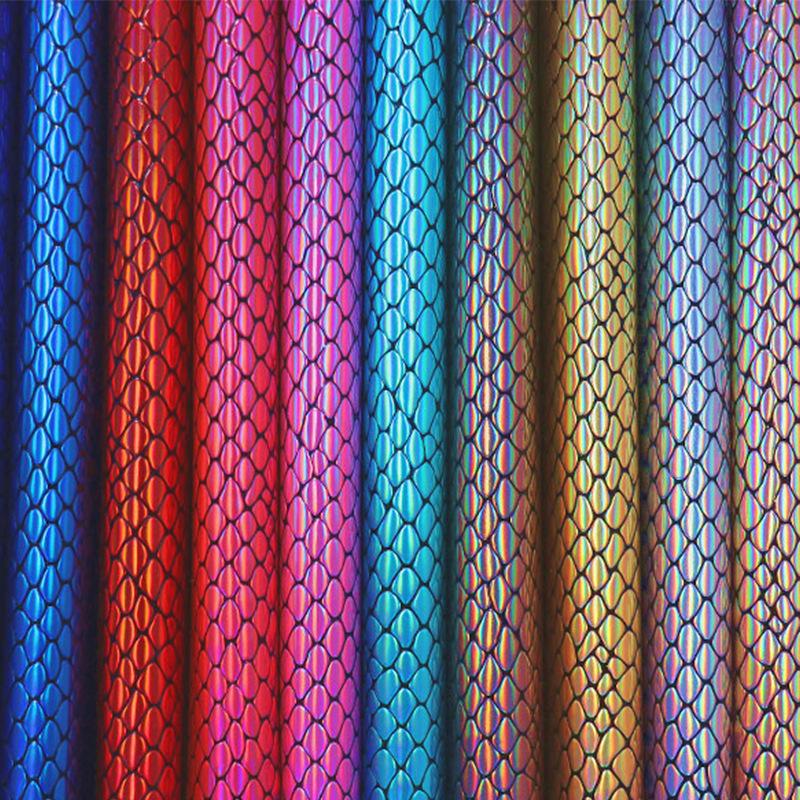 Laser mới da rắn vải kim loại màu ma thuật PU nhân tạo da tổng hợp