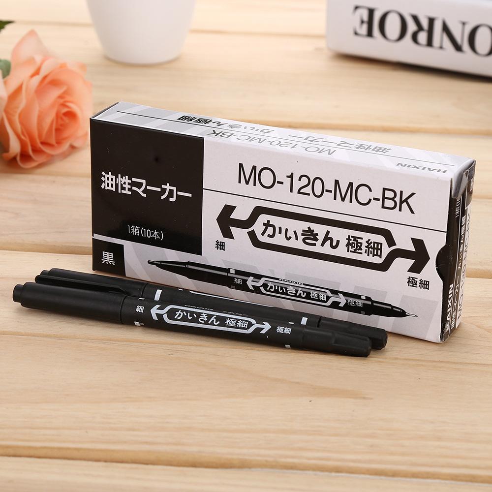 Đồ dùng văn phòng [đóng hộp] bút đánh dấu nhỏ màu đen hai đầu bút nước .