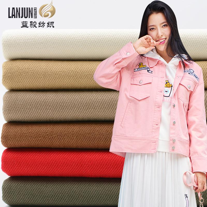LANJUN V ải Twill Cotton denim chải sợi thẻ carbon nhà máy vải mùa thu và mùa đông áo khoác giản dị