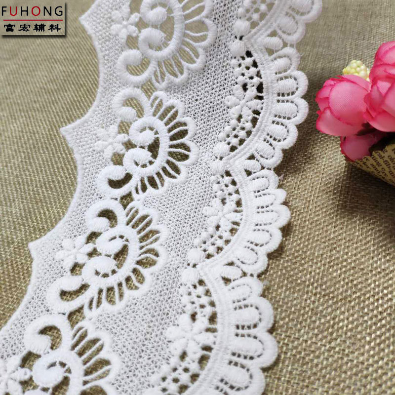 FUHONG ren viền Nhà sản xuất cổ phiếu rộng 8CM bông trắng hòa tan ren DIY quần áo rèm bông phụ kiện