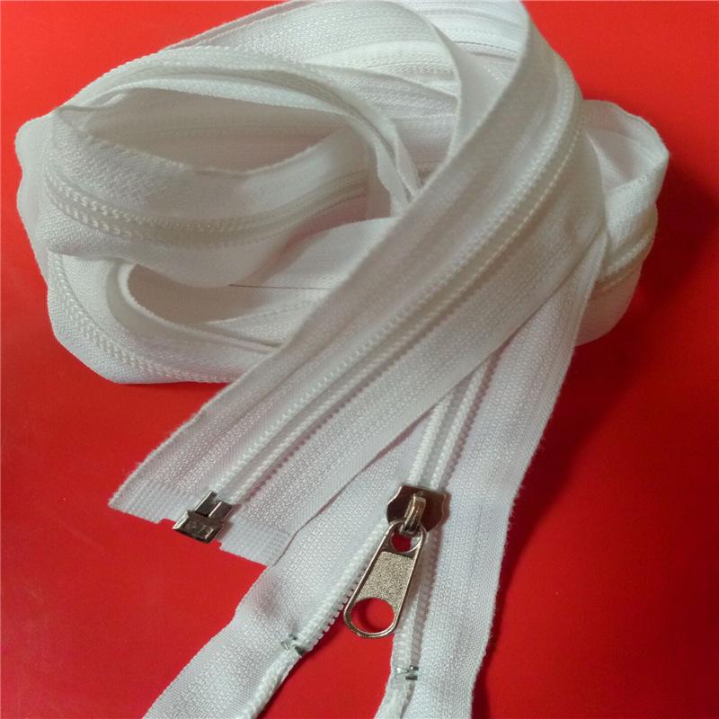 Thị trường phụ kiện Dây kéo nylon trắng 1,5m 5 # nylon mở đuôi tủ quần áo dây kéo tùy chỉnh màu sắc