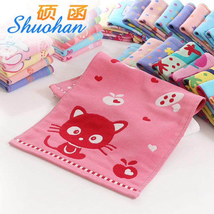 SHUOHAN Thị trường khăn 27 * 50 bông gạc ba lớp trẻ em khăn hoạt hình vải trẻ em khăn quà thấm nhỏ k