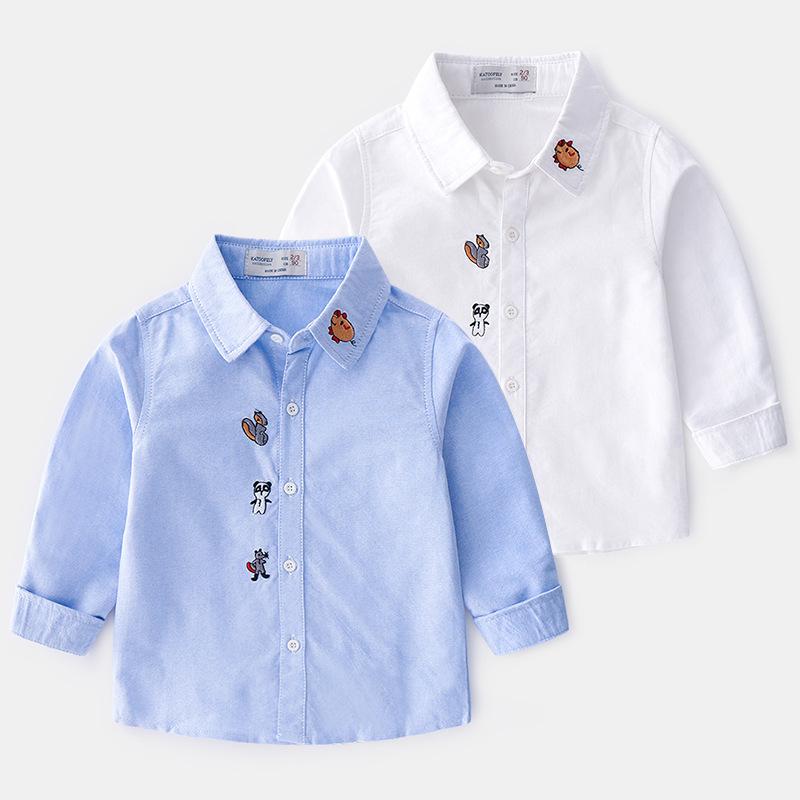 Katoofely Phong cách Hàn Quốc Mùa xuân mới phiên bản Hàn Quốc của quần áo trẻ em bé trai cotton thêu