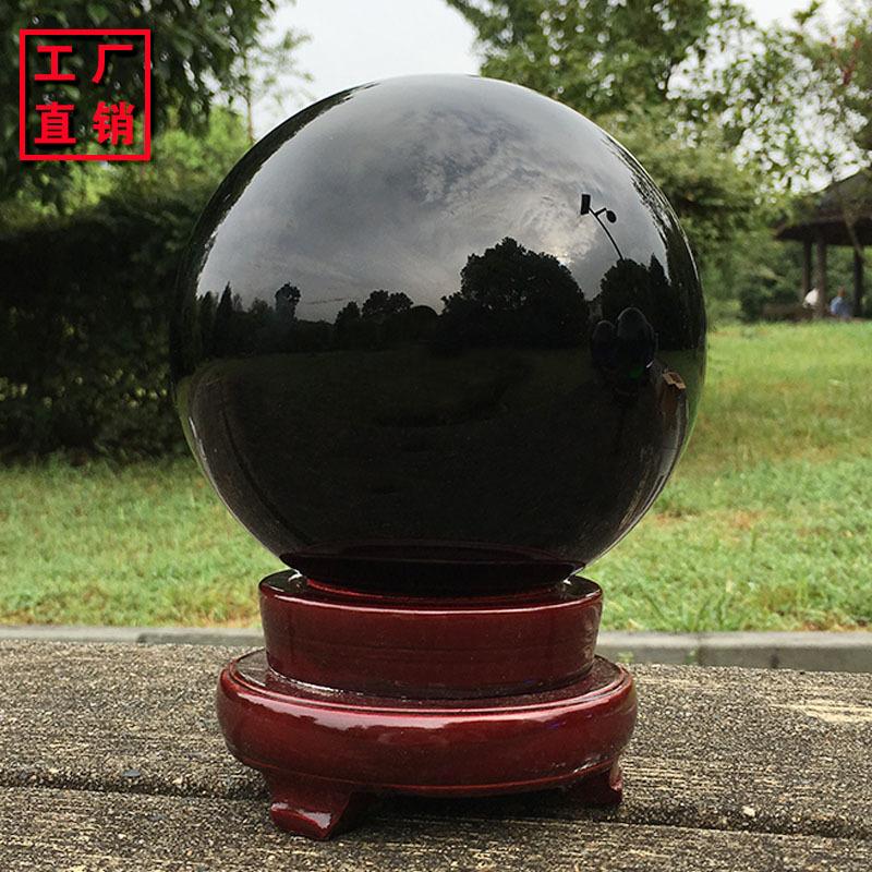 Đồ mỹ nghệ : quả cầu pha lê màu đen , dùng trang trí trên bàn phòng khách ,văn phòng .