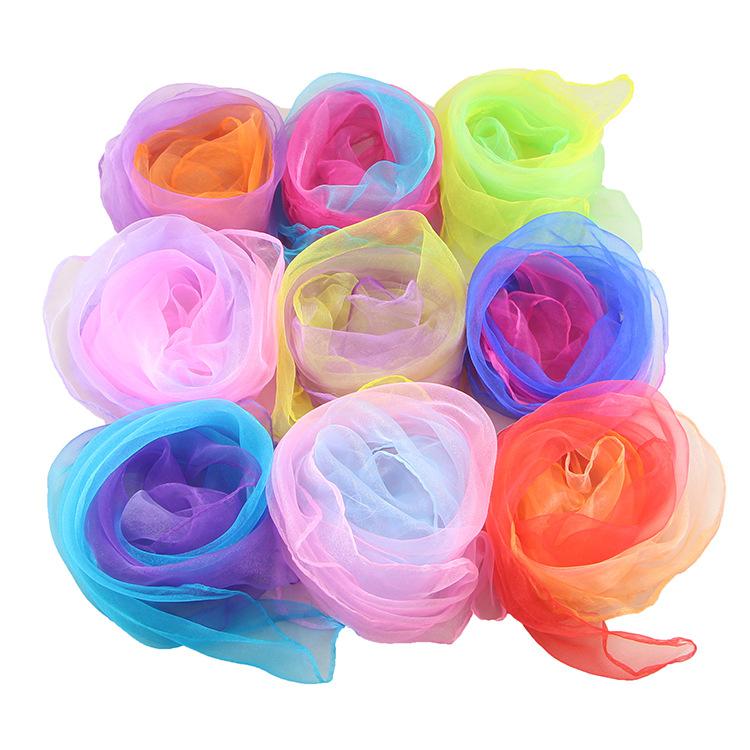 Khăn biến màu Màu sắc tinh khiết gradient khăn lụa nhỏ Biểu diễn múa mẫu giáo đặc biệt màu sắc quà t