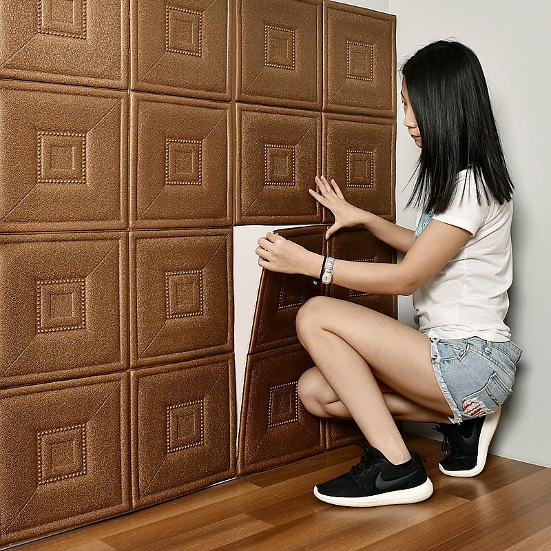 FUYI Vải ốp tường Tự dính túi mềm 3d âm thanh nổi dán tường phòng khách phòng ngủ gạch TV nền tường