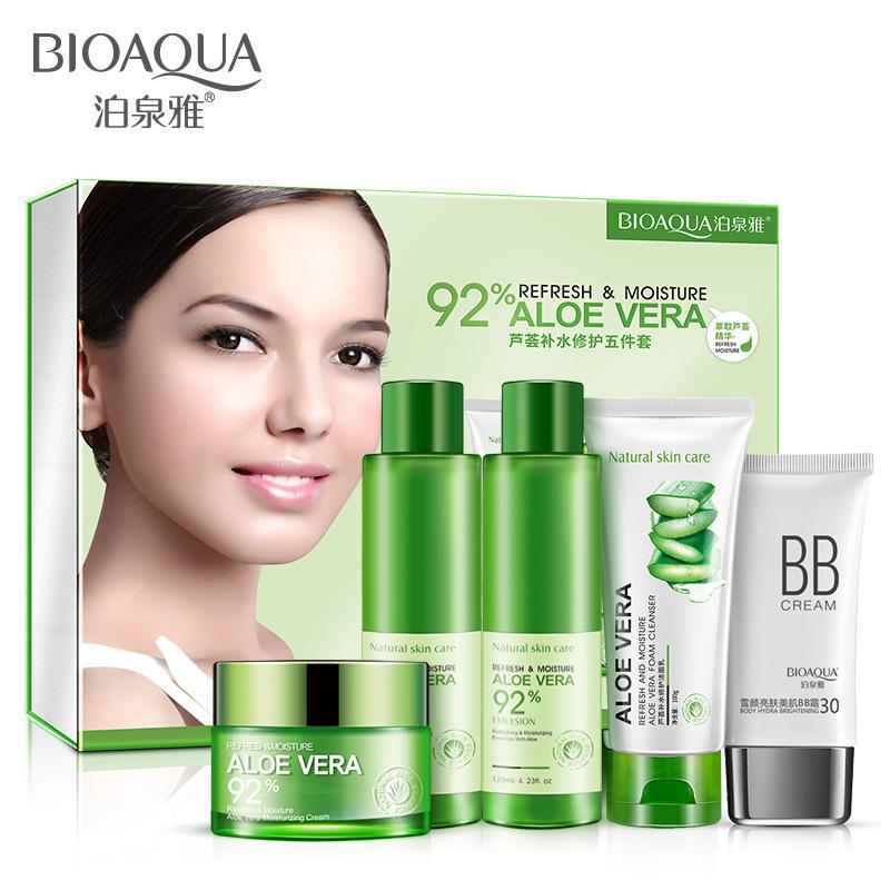 BIOAOUA bộ sản phẩm Boquan Ya Aloe Care Chăm sóc da Bộ 5 miếng dầu dưỡng ẩm Kiểm soát bộ mỹ phẩm nổ