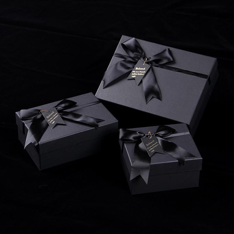 NAXIN Hộp quà tặng Son môi nước hoa hộp đen hình chữ nhật sáng tạo cao cấp cung cola bao bì hộp ruy