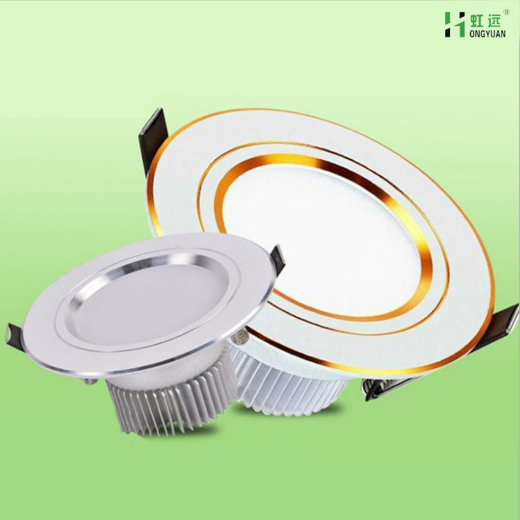 HONGYUAN Bóng đen LED âm trần Hồng Nguyên LED downlight 2.5 inch 3W5W4 inch 12W ba màu thay đổi ánh