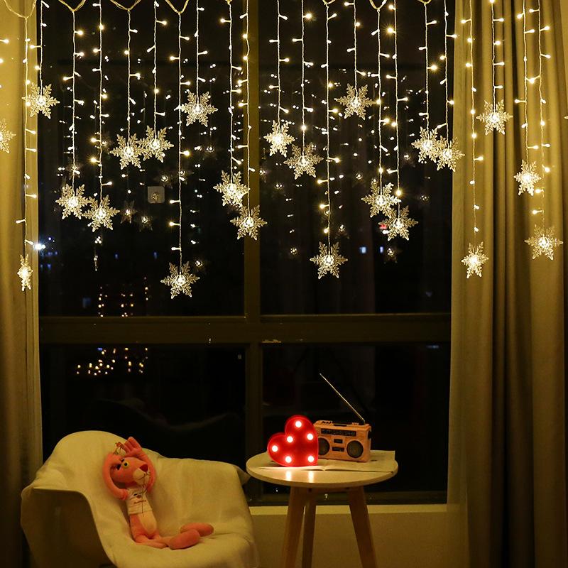 RUIXUANER Đèn trang trì Led rèm bông tuyết Giáng sinh Lễ hội mùa xuân trang trí dải băng đèn Bông tu