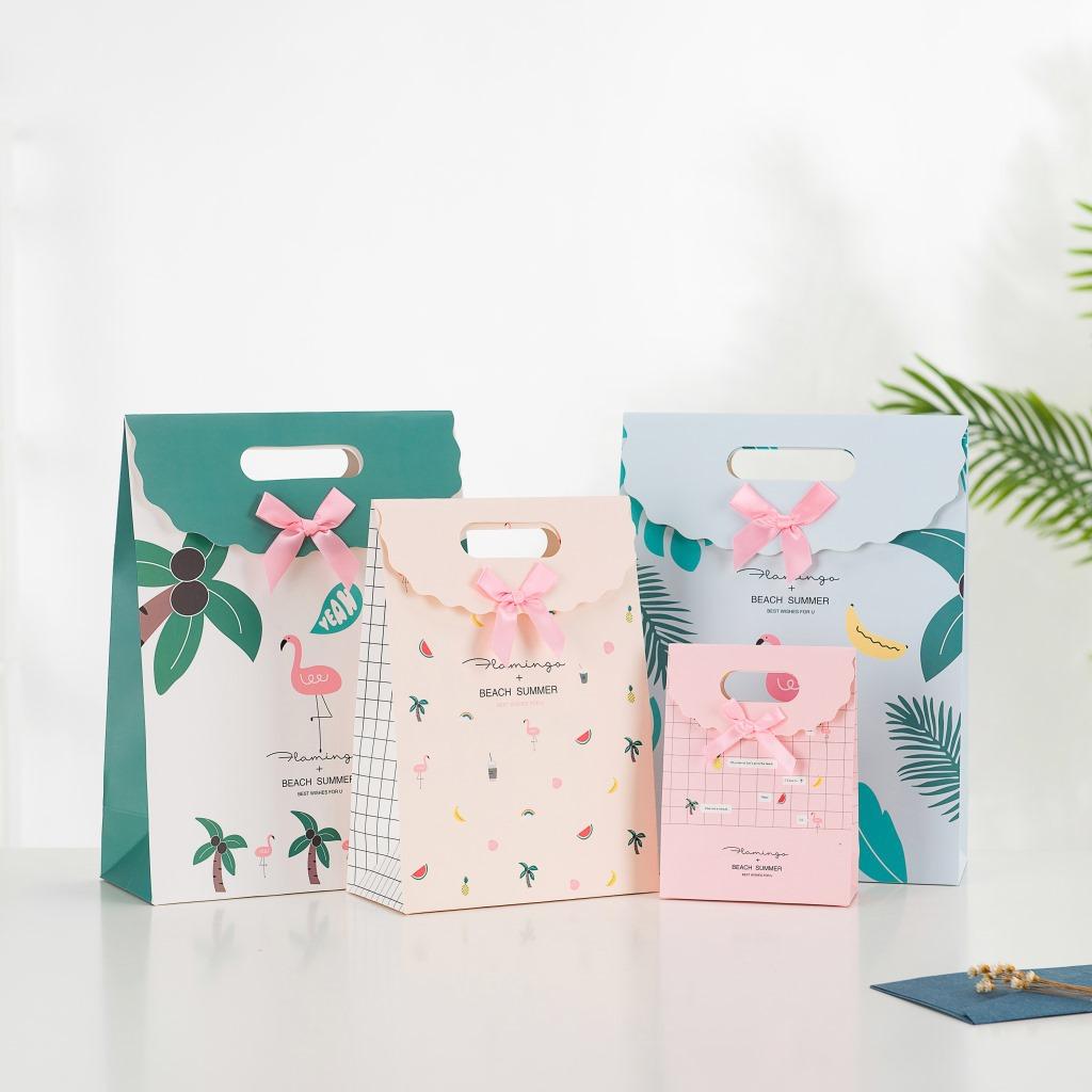 XIMEI Túi giấy đựng quà Túi đựng túi keo mới của Flamingo Túi đựng kẹo Flip Candy Túi quà không dây