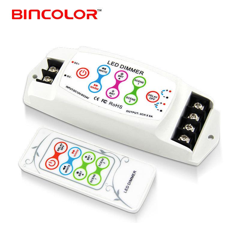 BINCAI Thiết bị điều chỉnh màu LED điều khiển nhiệt độ màu mờ, điều khiển màu kép, LED mờ màu