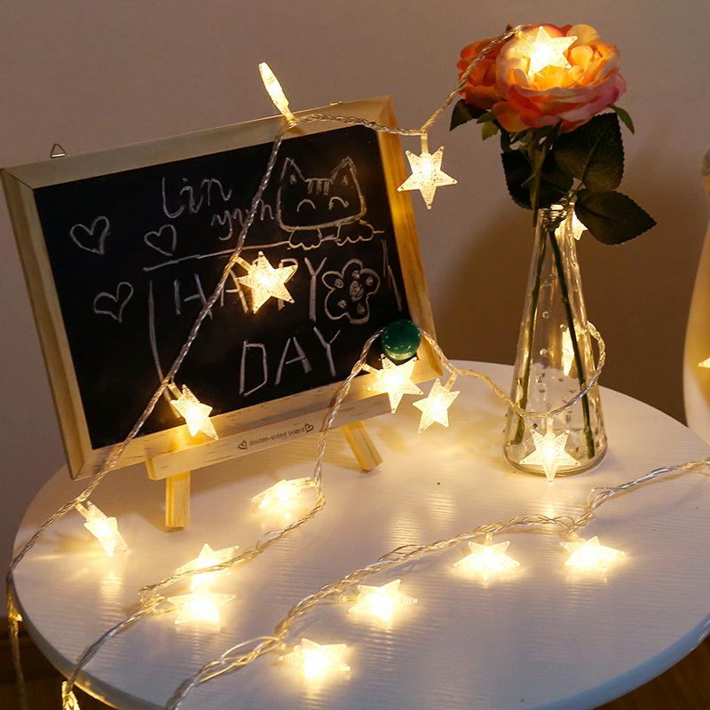 HAOXIANG Đèn trang trì Đèn LED nhỏ đèn chuỗi năm cánh sao chuỗi ngày Giáng sinh trang trí cửa sổ đám