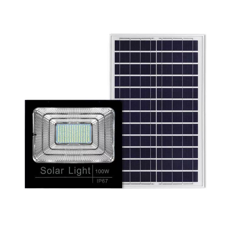 Đèn chiếu sáng sân vườn dùng năng lượng mặt trời ánh sáng 100W