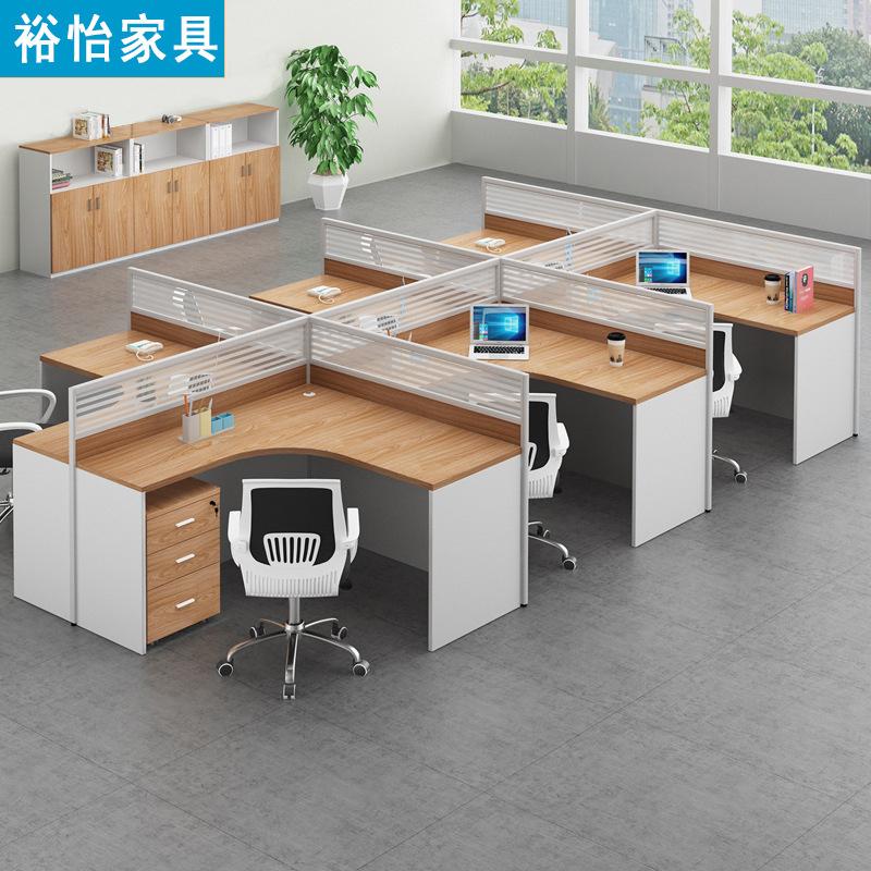 YUYI Thị trường nội thất văn phòng Bàn đơn giản nội thất văn phòng hiện đại 4 người màn hình màn hìn