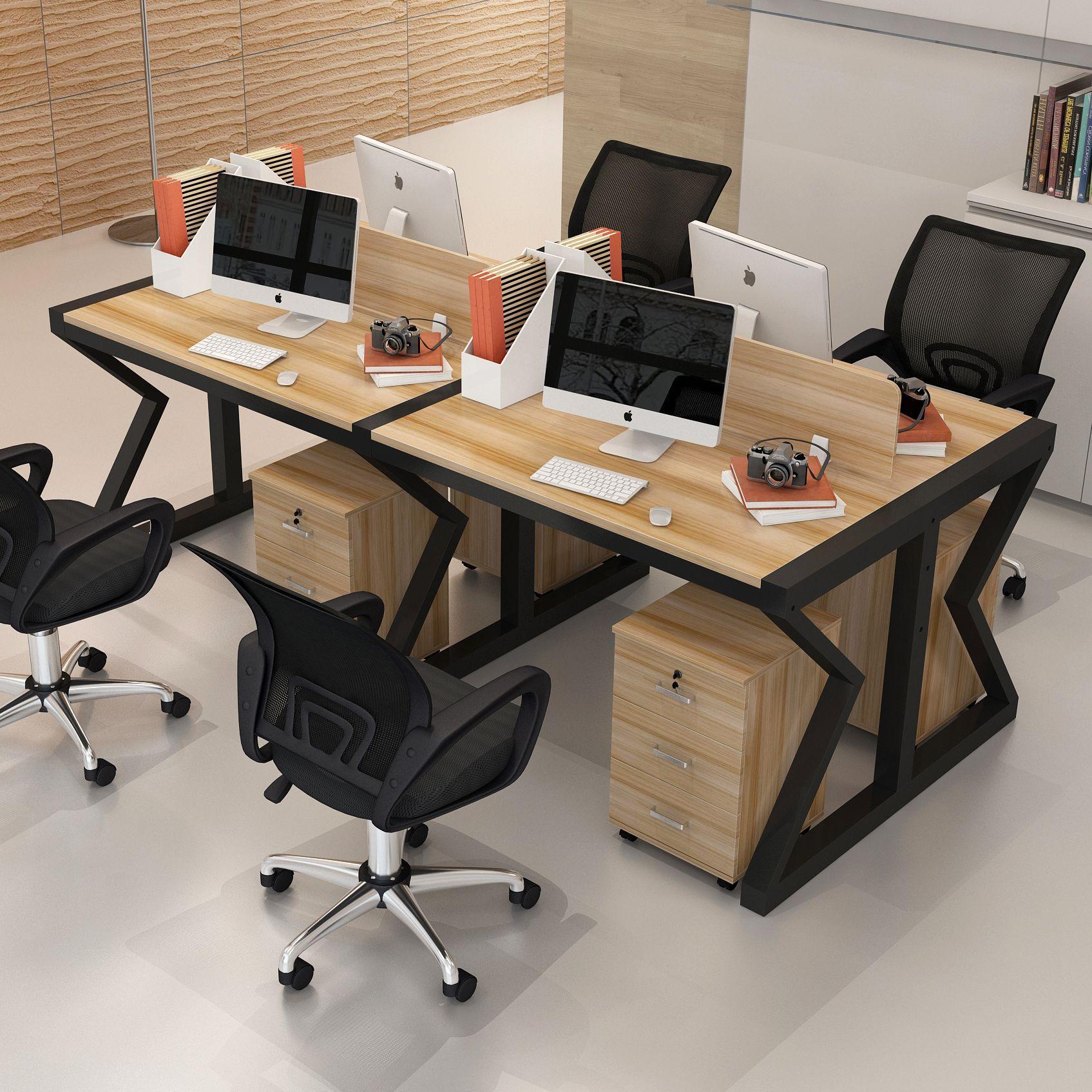AOJIE Thị trường nội thất văn phòng Bàn làm việc nhân đôi nóng bốn người bốn bàn máy tính bàn ghế kế