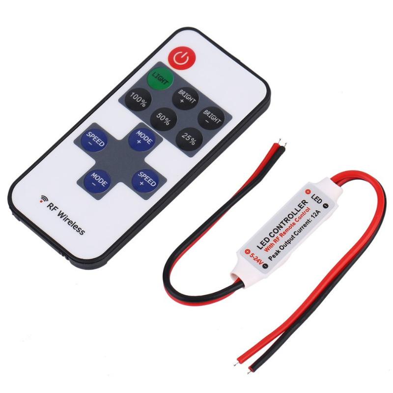 RONGYU Thiết bị điều chỉnh màu RF đơn sắc điều chỉnh độ sáng mini điều khiển từ xa không dây LED mô-