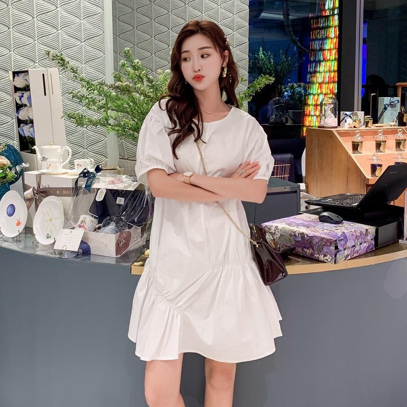 Váy Đầm nữ mùa hè 2019 cỡ lớn bong bóng tay ngắn Váy Pháp ống rộng tay áo mỏng bạn gái với nàng tiên