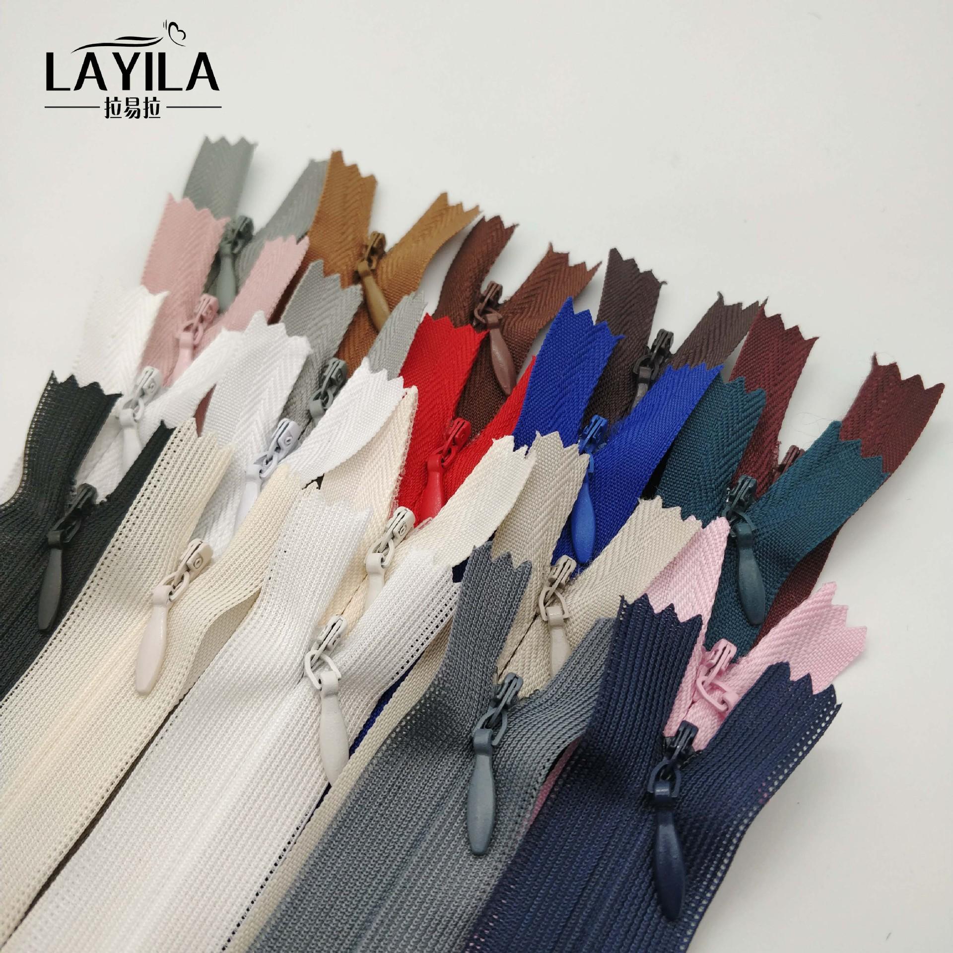 LAYILA Thị trường phụ kiện Nhà máy bán buôn số 3 kín nylon dây kéo vô hình Gối nhà dệt bên dây kéo t