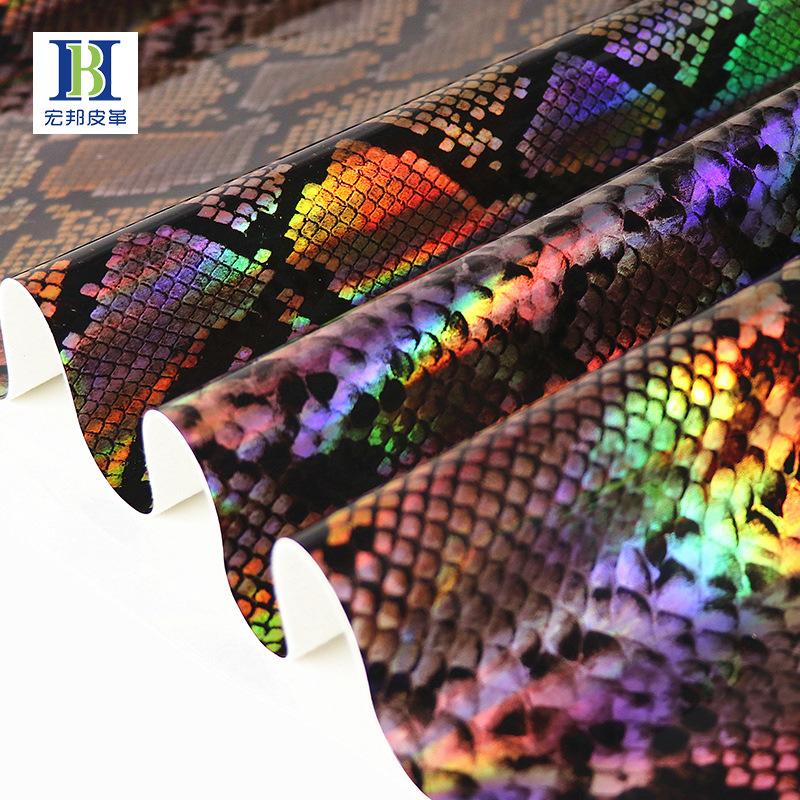 HONGBNAG Vật liệu da Laser Symphony Snake PU Da Mới Tiêu chuẩn Châu Âu Eco Leather Túi xách Túi quần