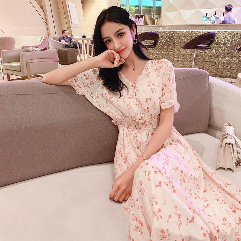 Váy hè phổ biến 2019 cổ tích siêu cổ tích rừng cổ chữ V eo cao váy hoa nữ voan dài