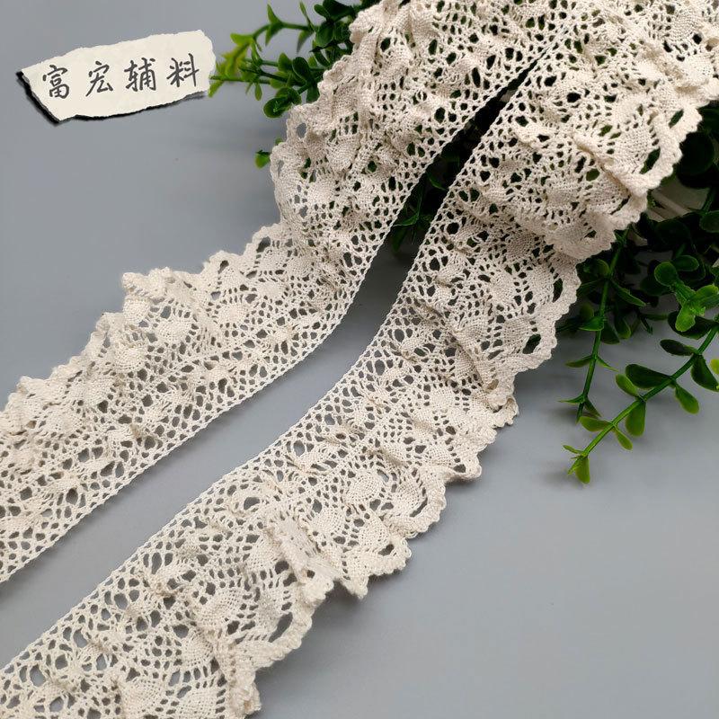 FUHONG ren viền Đầm thun cotton trang trí ren trắng cotton ren DIY quần áo đầy đủ bên bông nhà sản x