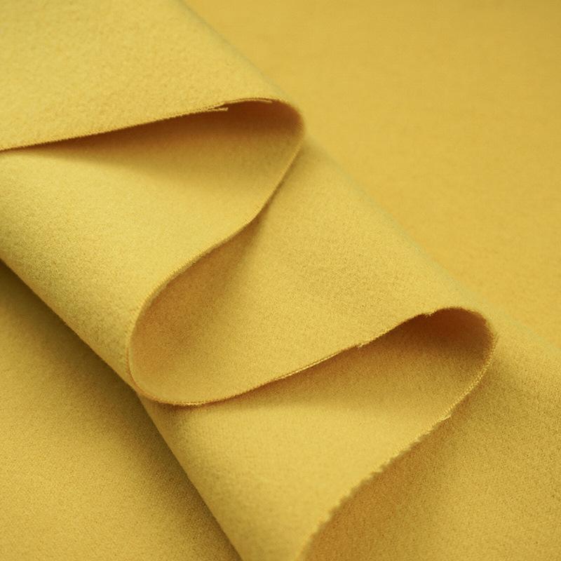 JUNHUAVải pha sợi Hai mặt kéo vải len tr phẳng len pha trộn macaron kẹo màu áo khoác thời trang vải