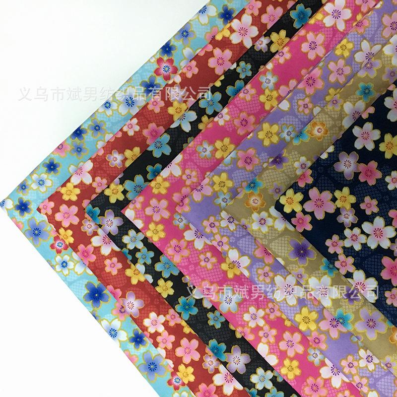 BINNAN Vải Chiffon & Printing Hoa anh đào lãng mạn in da đào vải búp bê váy mũ băng vải