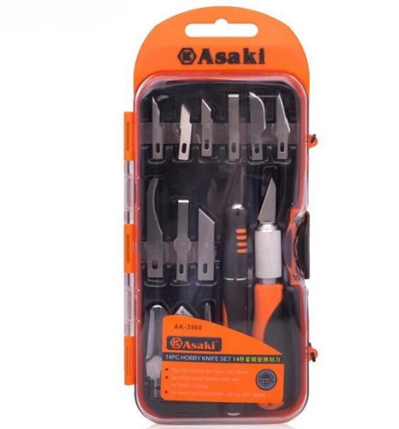dao điêu khắc, chạm, trổ, tách cao cấp 14 chi tiết Asaki AK-3960