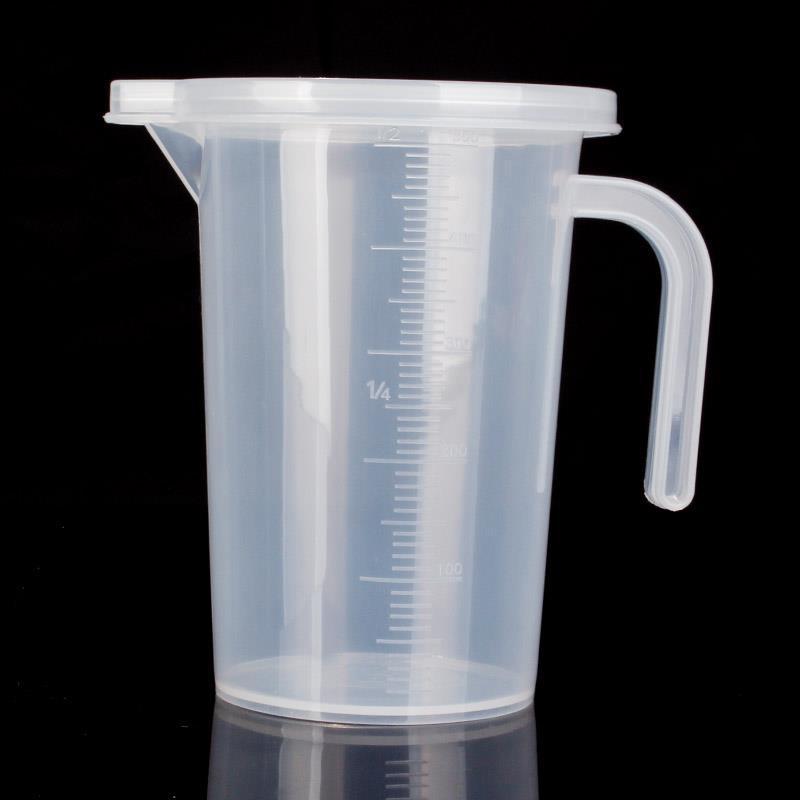 Cốc đo bằng nhựa trong suốt có nắp , Dụng cụ phòng thí nghiệm