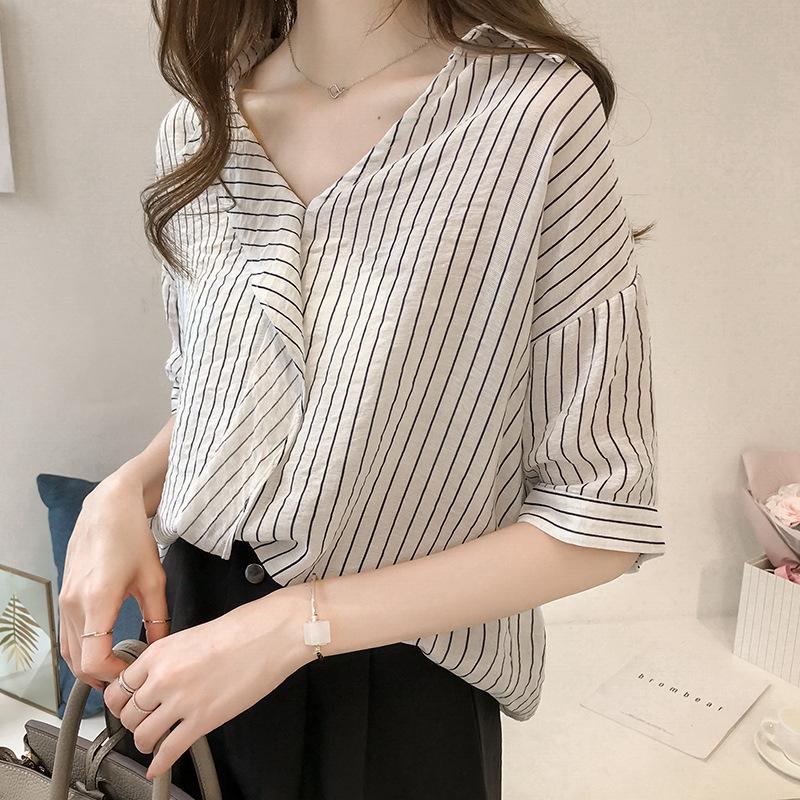 Thời trang 2019 phụ nữ mới phiên bản Hàn Quốc của áo sơ mi nữ xù sọc xù