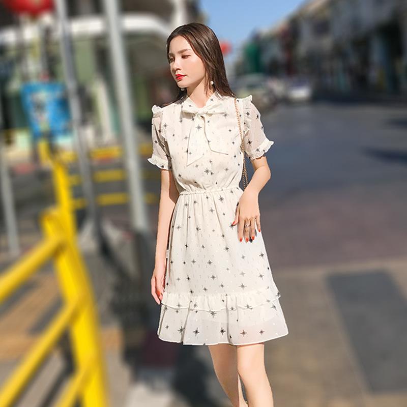 Váy voan nữ lưới đỏ 2019 mùa hè mới váy cổ tích khí chất Hàn Quốc Váy nữ ngắn tay ngắn