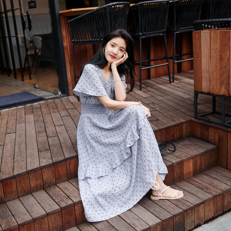 Váy voan chấm bi nữ mùa hè 2019 mới của cô gái Pháp eo retro váy nhẹ nhàng siêu tiên tình yêu đầu ti