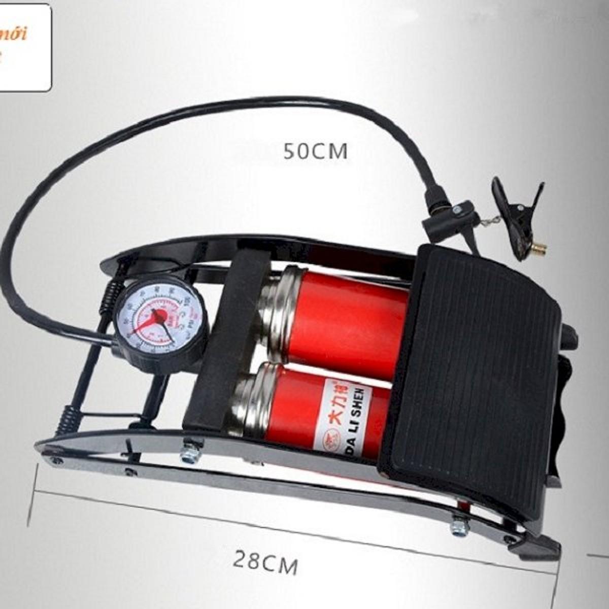 Combo Bơm hơi đạp chân 2 Pitton kèm Đồng hồ điện tử đo áp suất lốp xe chuyên dụng cho ô tô xe máy