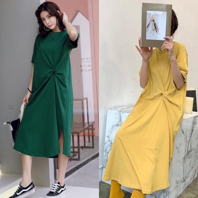 TAOYIN Váy 9117 # 19 mới của phụ nữ lỏng lẻo Hàn Quốc kích thước lớn áo thun ngắn tay váy dài phần v