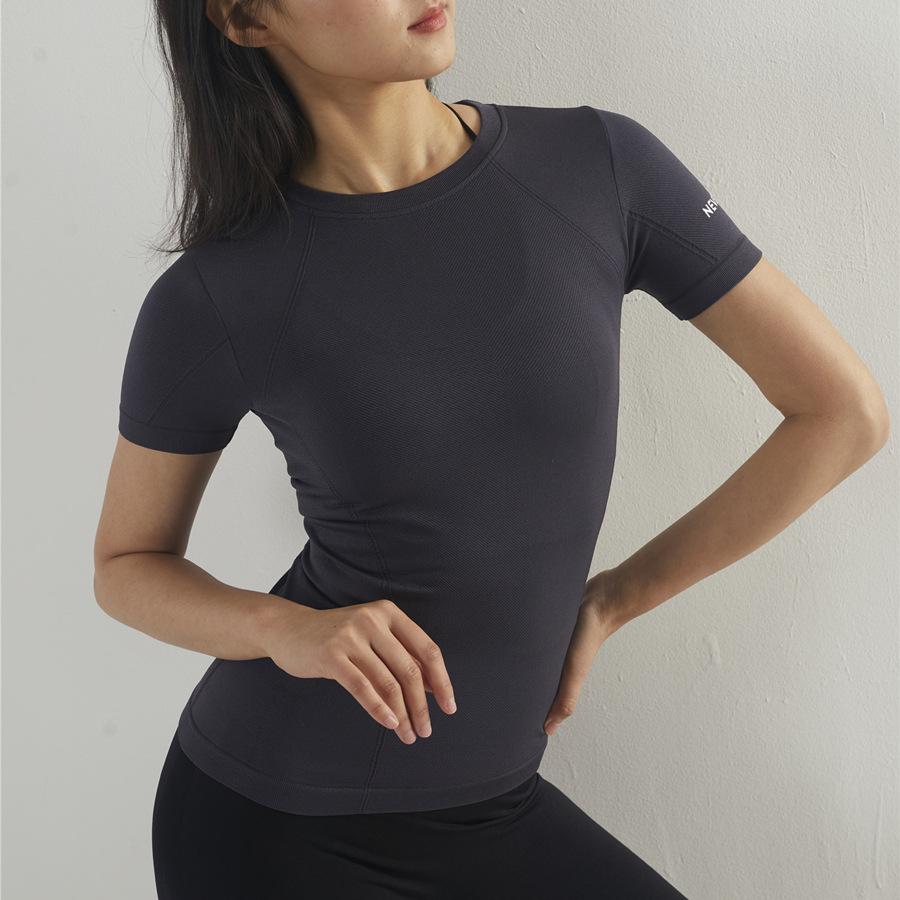 Áo thun mau khô 2019 mẫu xuân hè liền mạch NEVERSTOP in áo thun ngắn tay tập thể dục yoga thể thao q