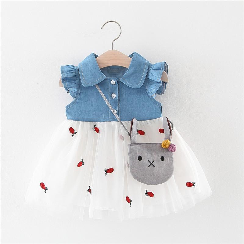Phong cách Hàn Quốc Quần áo trẻ em mới bán buôn 2019 màu denim khâu chân váy dứa có túi Váy trẻ em m