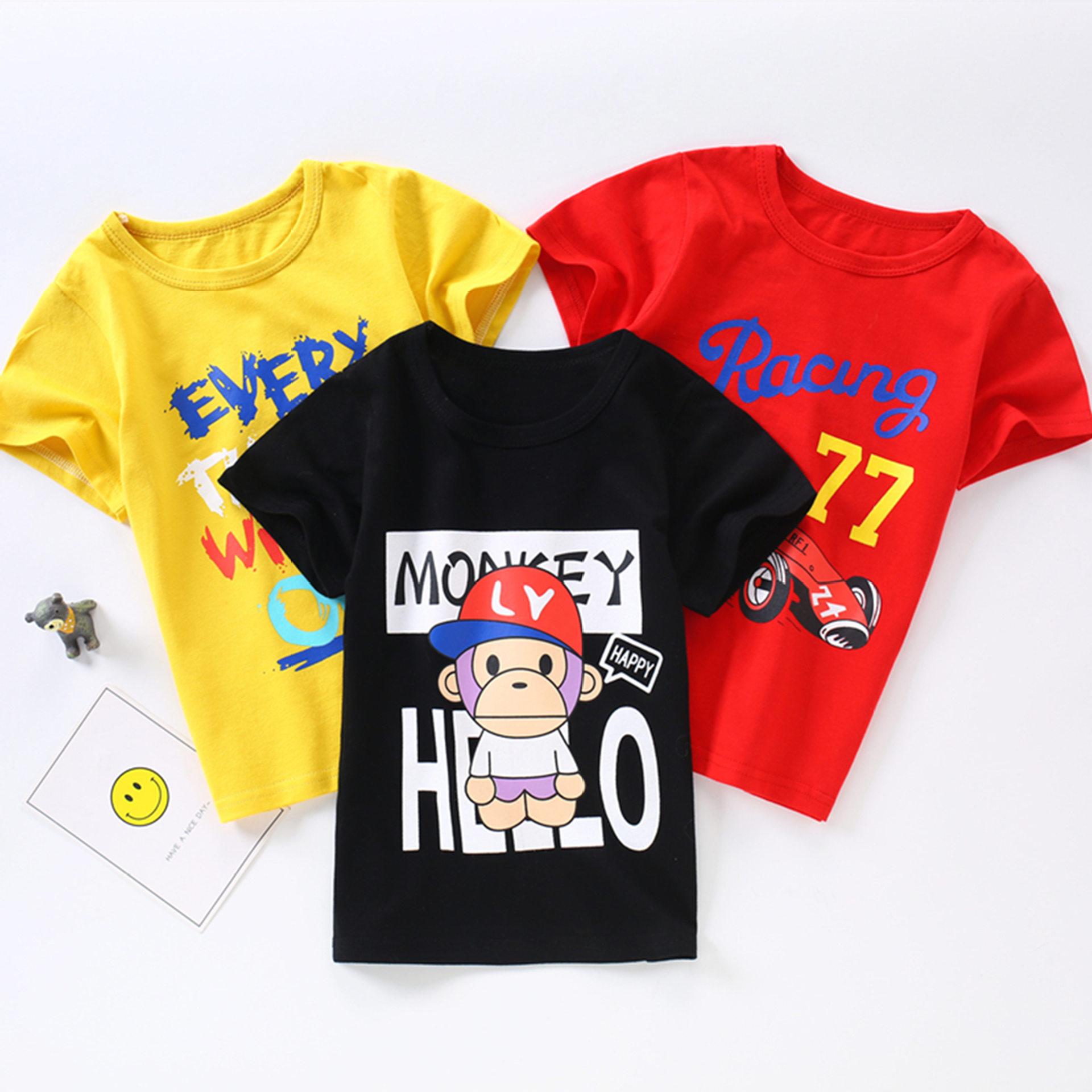 MIXIAOXI Phong cách Hàn Quốc 2019 quần áo trẻ em mùa hè trẻ em áo thun cotton nam và nữ mùa hè áo sơ