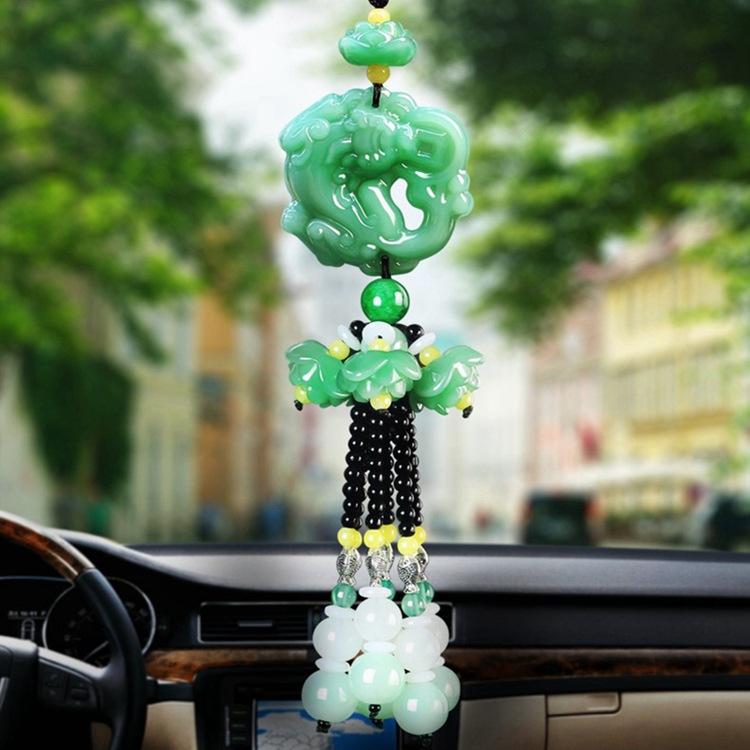 KESHUN Thị trường đồ trang trí xe hơi Mặt dây chuyền ô tô vào và ra hoa sen xanh ngọc bích xe may mắ