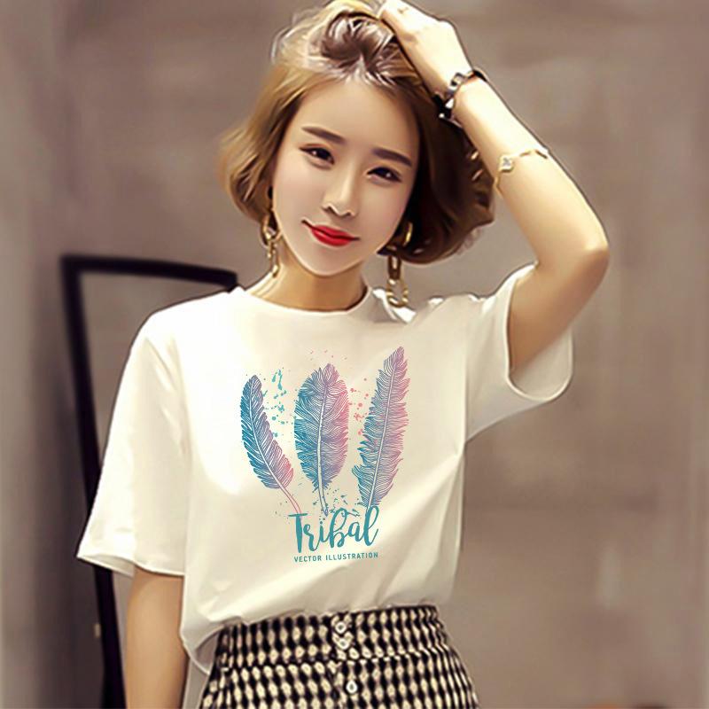 SHIZHIMEI hàng chất lượng cao D118 áo phông trắng nữ ngắn tay mùa hè mới thả lỏng nửa tay áo lưới đỏ