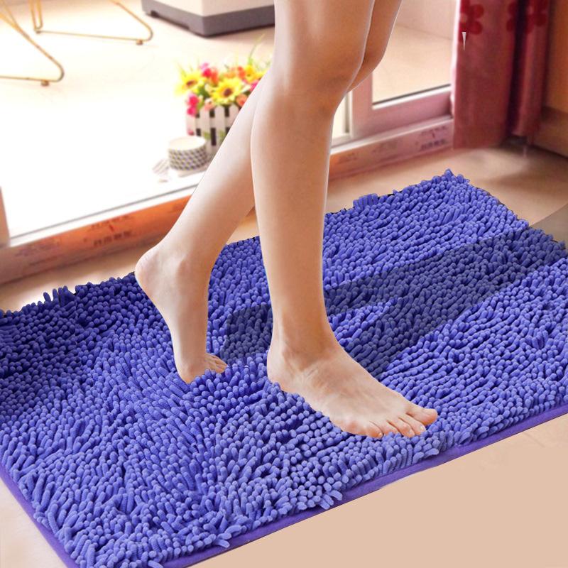 YUQI Đệm chân Chenille phòng ngủ nhà bếp phòng khách thảm microfiber cửa phòng tắm thảm chống trượt