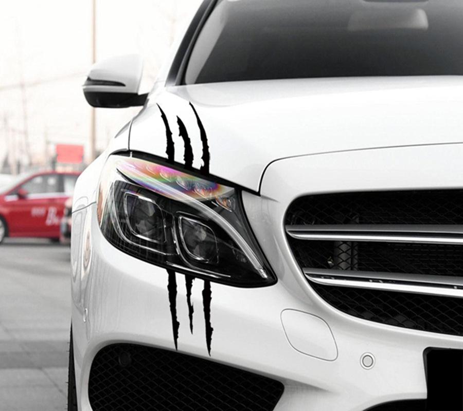 MIAOKASI Đề can xe hơi Xe Ghost Car Sticker Đèn pha Trang trí Chân Xe Sticker Động cơ Bao gồm Scratc
