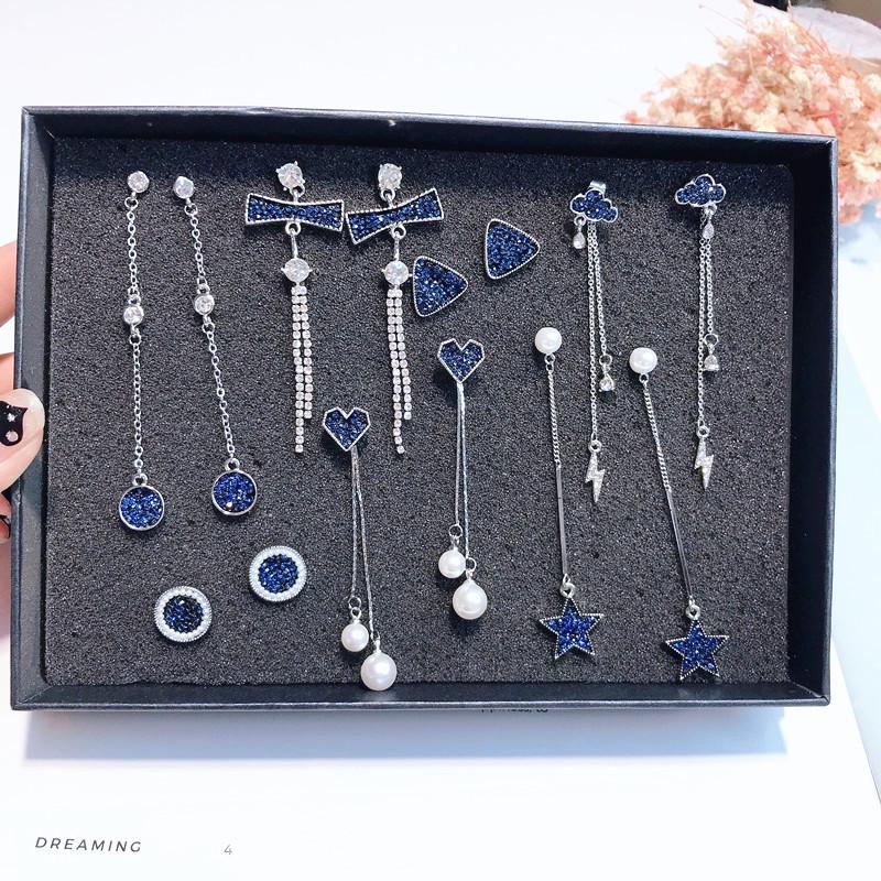 LIANSHENG Phụ kiện thời trang Hoa tai thời trang màu xanh kim cương màu xanh nữ hoang dã dài Hàn Quố