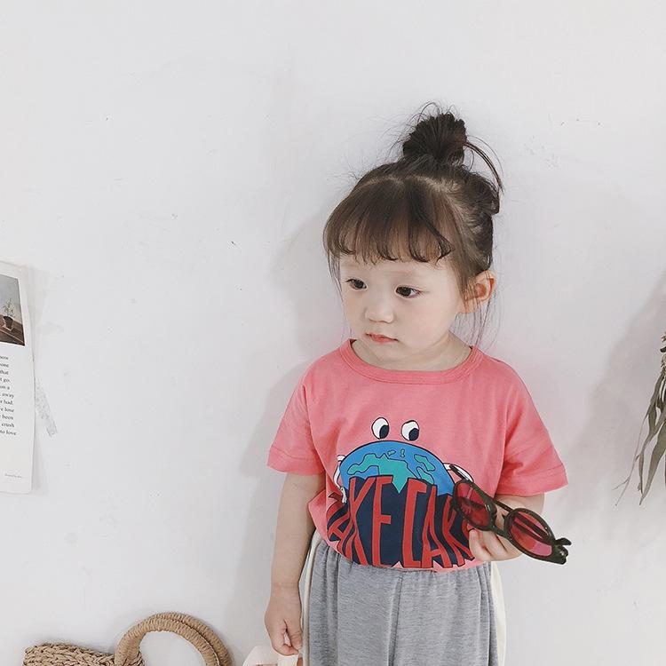AMBB Phong cách Hàn Quốc Áo thun trẻ em Mùa hè bé trai và bé gái hoạt hình Hàn Quốc in tay áo ngắn 2