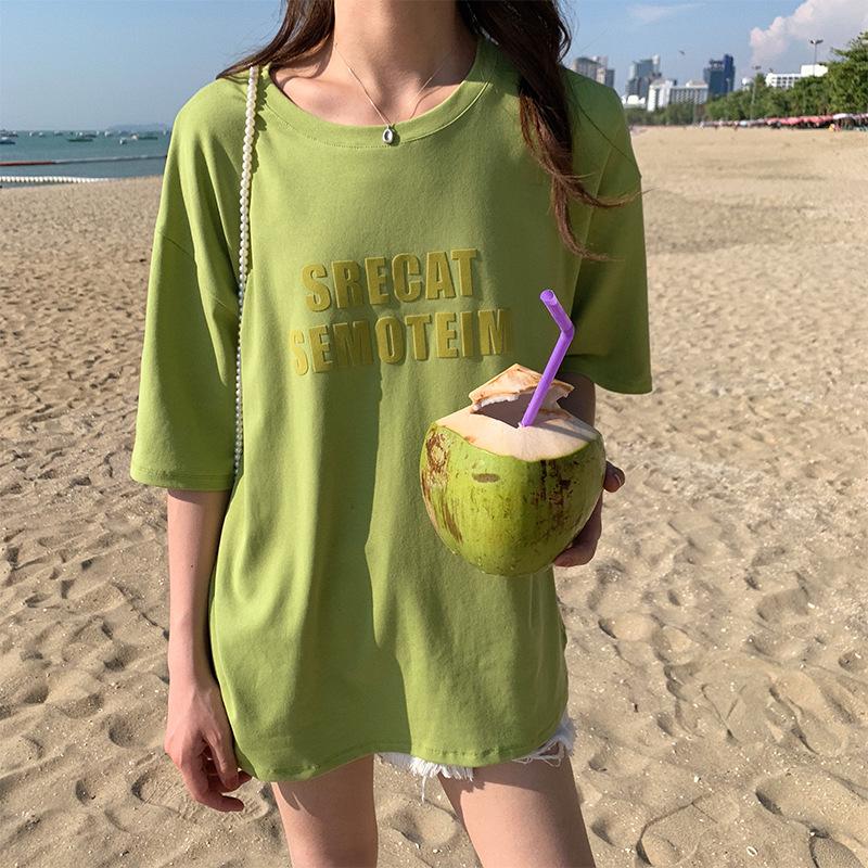 Hooozen hàng trào lưu mới 2019 Mùa hè phiên bản Hàn Quốc đơn giản, giản dị, giản dị, hot map cổ tròn